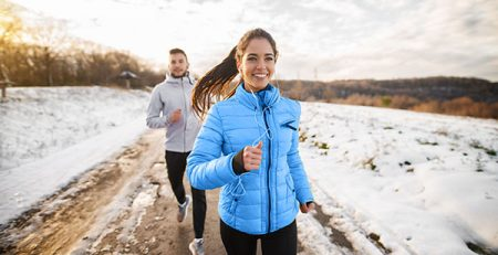 Healthy habits couple running.